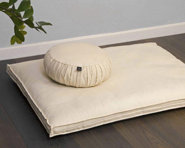 Cottoned-meditation-cushions-filled-with-organic-cotton-zafu-and-zabuton-setting