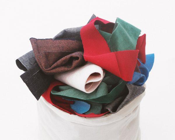 Cottoned fabric scraps bag - close up